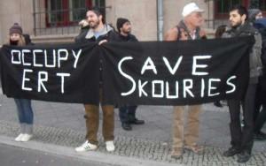 Protest gegen die Schließung von ERT